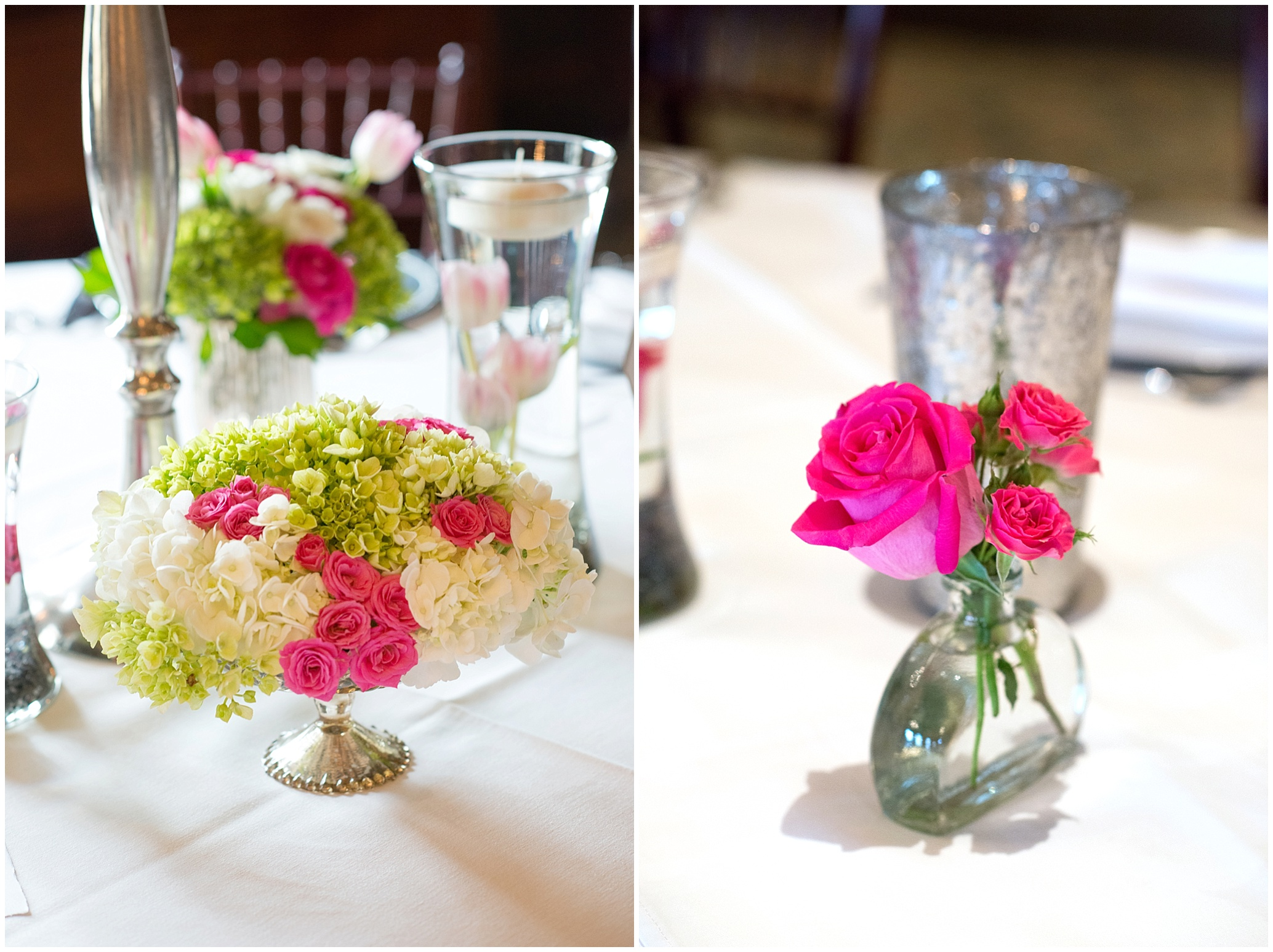 Kari joe tpc sawgrass ponte vedra wedding florist a beautiful and eclectic mix of arrangements used for lavish centerpieces were created in silver and gold mercury vases featuring hot pink roses reviewsmspy