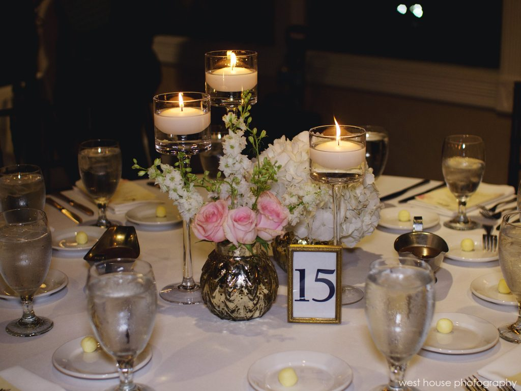 Nicole matthew the white room rose of sharon wedding florist other guest tables had candle centerpieces created with floating candles in set vases and vases of complementing flowers reviewsmspy